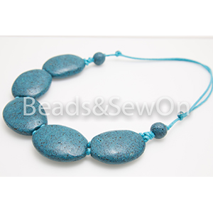 Eco Beads 2H Pebble Necklace Blue