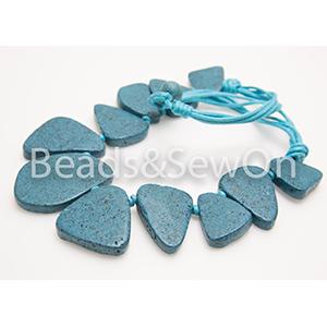Eco Beads Flat Pebble Necklace Blue