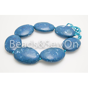 Blue beads Eco Pebble Necklace 6077