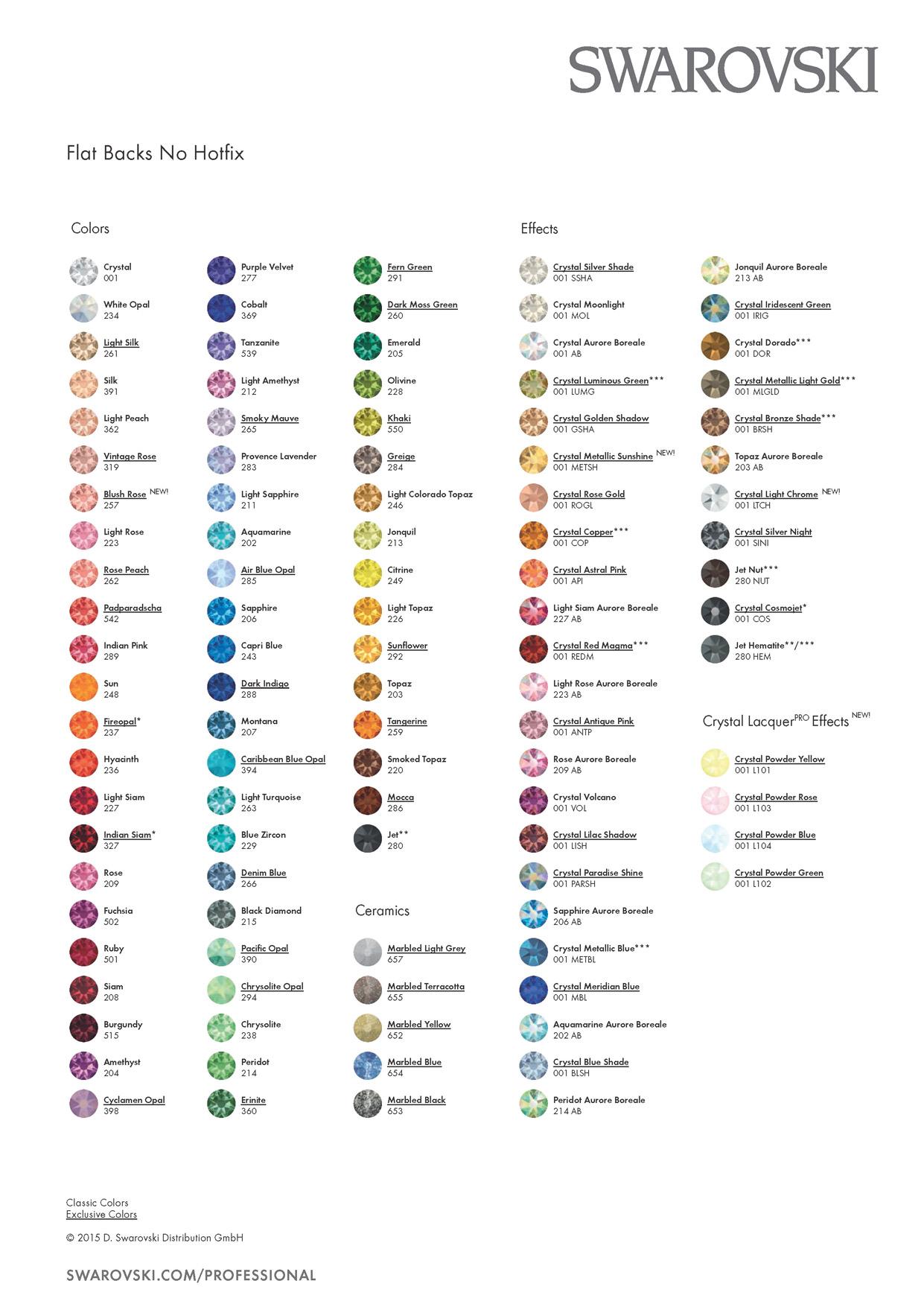 Swarovski Flat back colour chart