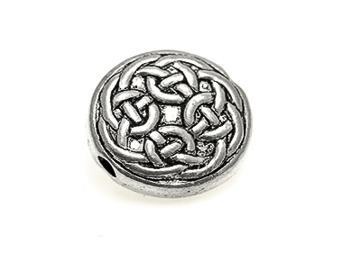 Celtic knot work bead 18 mm Flat round, 3mm hole