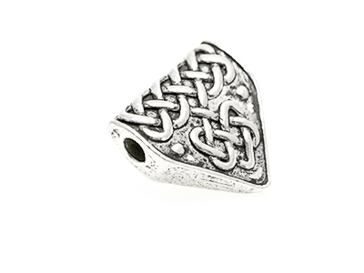 Celtic knot work bead 18x18mm wide tooth shape, 3 mm hole