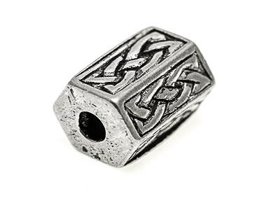 Celtic knot work bead 10x8mm Hexagon shape, 3 mm hole